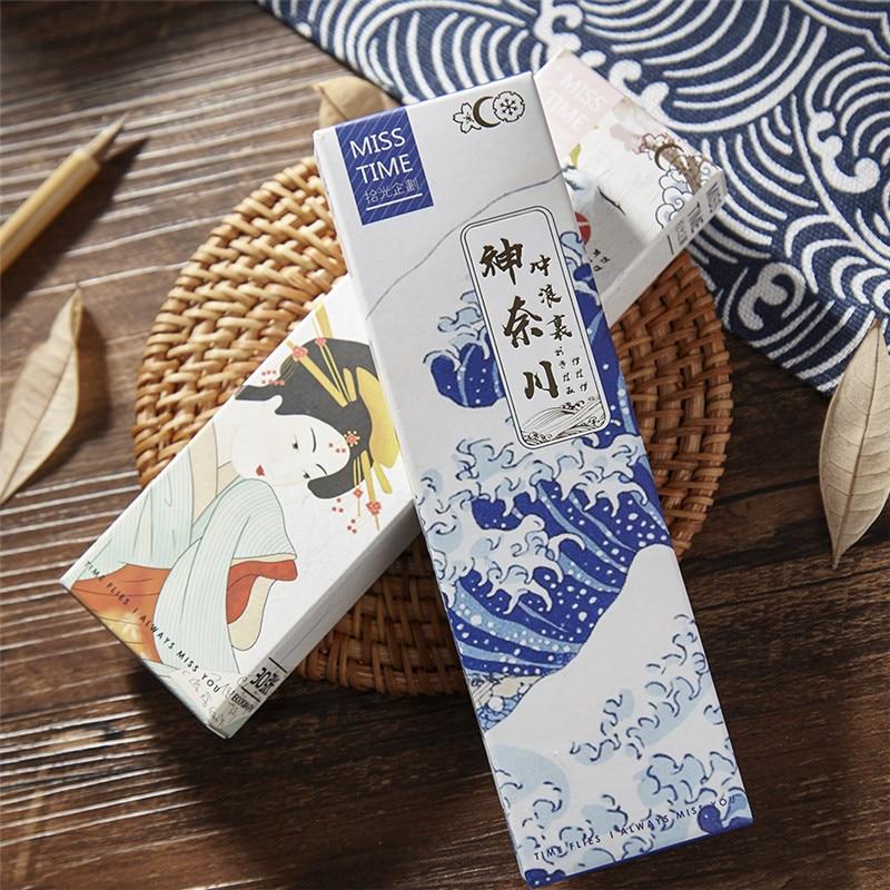 30 Pcs/Set Novelty Kanagawa Wave Paper Bookmark Japanese Style Bookmarks Book Holder Message Card Gift Stationery