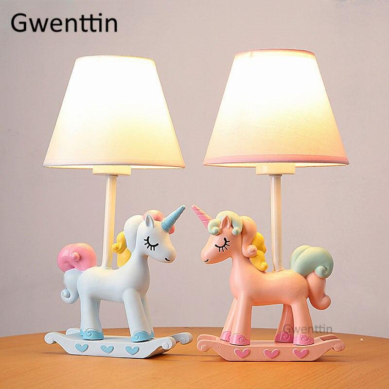 Modern Cartoon Unicorn Table Lamps Animal Lamp Led Stand Desk Light Fixtures for Children's Room Kids Bedroom Bedside Study Lamp|LED Table Lamps| |  - title=
