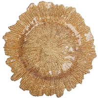 10pcs/carton 33cm gold glass plate wedding flower shape plate as decoration