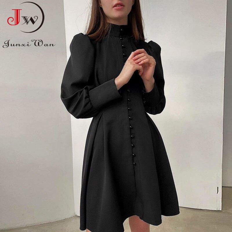 2021 New Puff-Sleeve Elegant Party Dress Women Solid Turtleneck Collar Ladies Streetwear Black Solid Button Mini Dresses Vestido 1