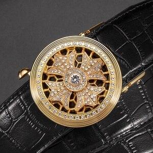 Image 5 - بيسون الدينيم جلد أصلي للرجال حزام التلقائي سبيكة الماس مشبك حزام من الجلد الفاخرة للذكور جودة عالية N71507
