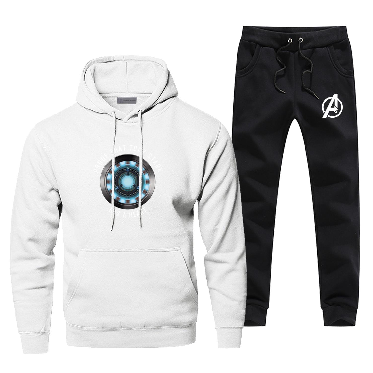 Iron Man Hoodies Cosplay Men's Sets Tony Stark Avengers Complete Man Tracksuit Casual Fashion Hip Hop Pants Sweatshirts Hoodie