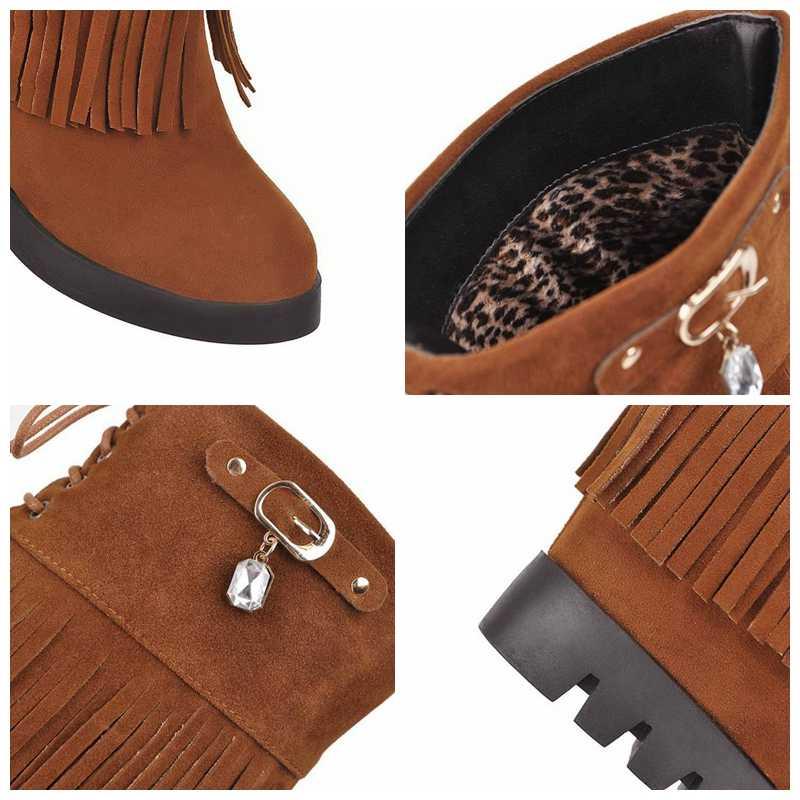 REAVE KEDI Kadın yarım çizmeler Yuvarlak Ayak Yüksek artan püskül Akın Toka Lace Up Platformu takozlar Rahat Büyük size33-43 Siyah Kırmızı