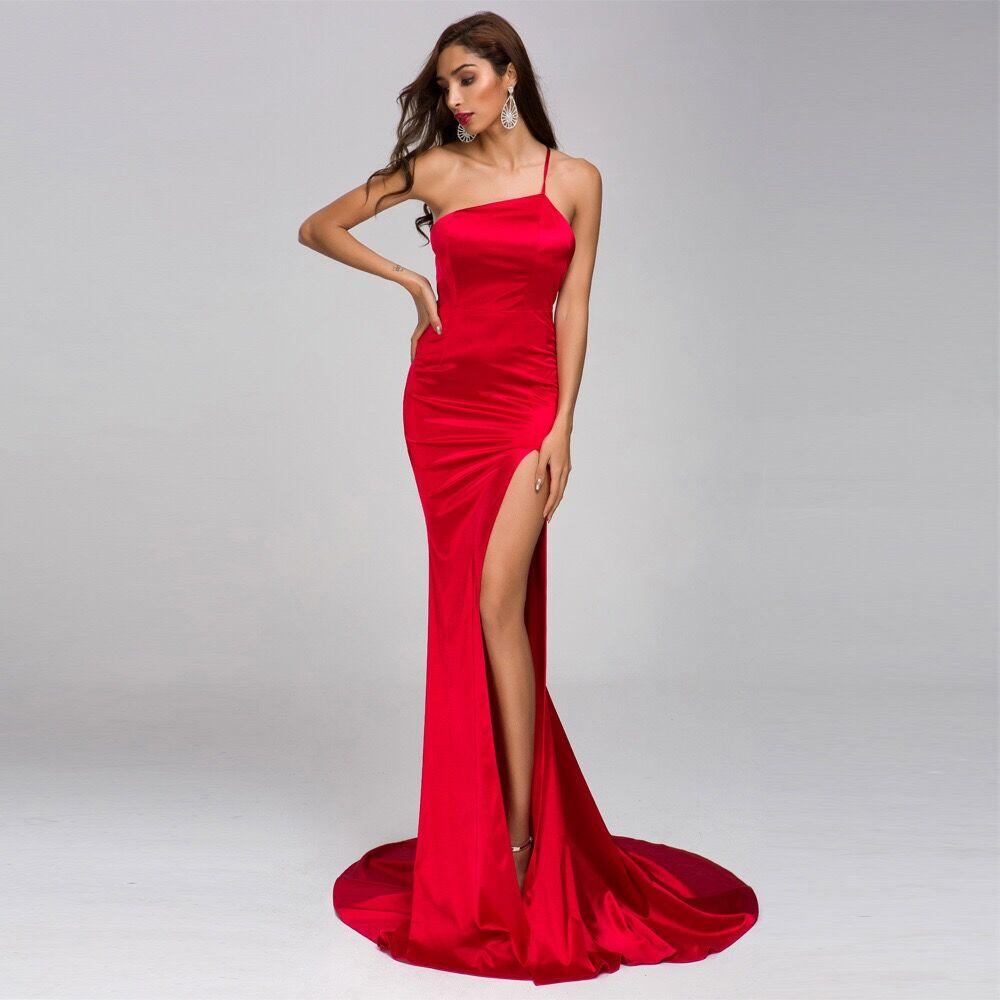 Une épaule longue robe de soirée de haute qualité haute fente Sexy dos nu élégant femmes robes