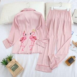 Image 4 - Fiklic pyjama femme soie manches longues, ensemble pyjama satin, printemps 2020