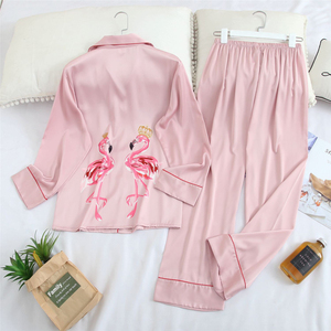 Image 4 - Fiklyc underwear long sleeve 2020 spring womwn pejamas pijamas invierno mujer silk pijama flamingo satin pajamas sets conjuntos