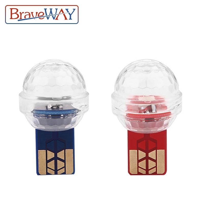 BraveWAY LED Car USB Atmosphere Light DJ RGB Mini Colorful Music Sound Lamp USB-C Phone Surface For Festival Party Karaoke