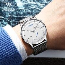 Cadisen Heren Horloges Top Brand Luxe Gebogen Glas Klok Mannen Business Casual Creative Mesh Band Quartz Horloge Relogio Masculino