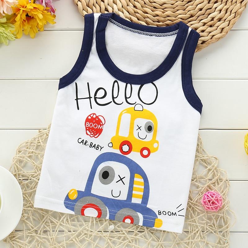 2020 New Summer Baby Boy Clothes T Shirt Quality Cotton Kids Sleeveless Vest Cartoon Boy Tshirt  Soft  Girls Tops
