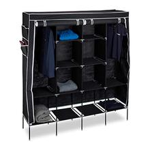 Wardrobe Folding 12-Shelves Black with And 2-clothes/Rails/Black 181x167-X-43-Fabric