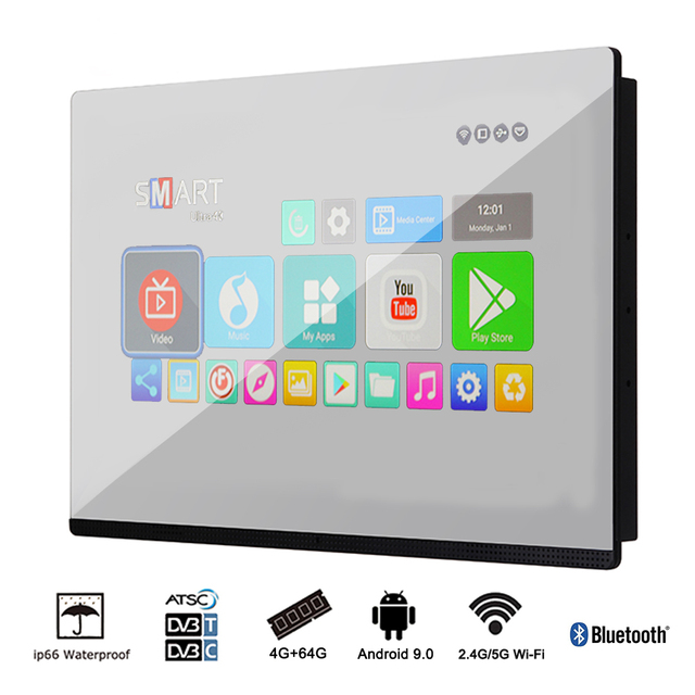 "Souria 19"" Bathroom Waterproof Smart Mirror Hidden LED TV Magic Glass Built in Wall Television SPA"