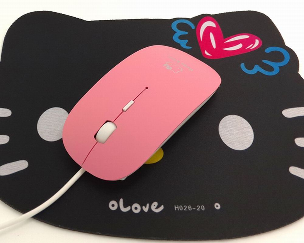 Cartoon Design Wired Optical Pink Kitty Mouse Mice Mause For Laptop Notebook Computer Kids Gift