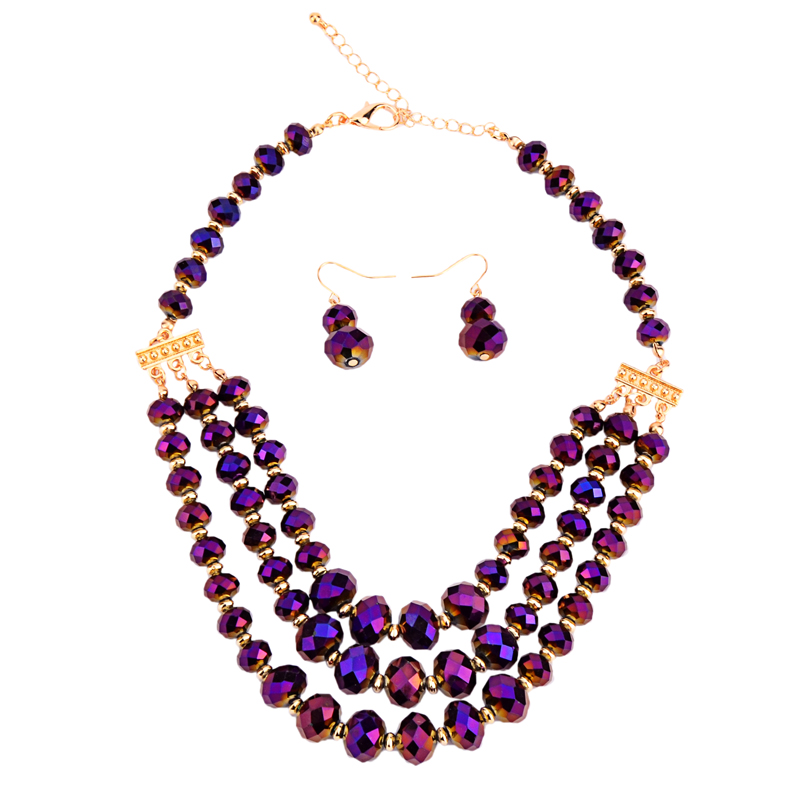 Multi-layer Crystal Necklace Set