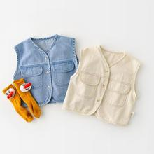 Vest Waistcoat Girls Baby Boys Tops Outer-Jacket Comfortable Toddler And Soft Denim New