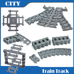 City Train Railway Track Model Sets Straight Curve Assembled Building Blocks DIY Construction Toys compatible with lego