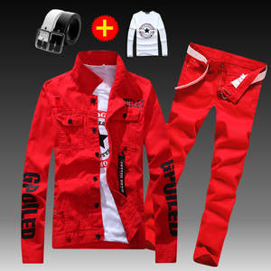 Pants Red Boys Trousers Jacket 2pcs-Set Men's Casual Denim White Black Coats Letters-Printed