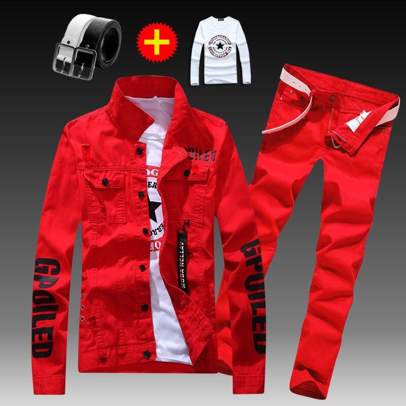 Men's Slim Fit Denim Jacket Pants 2pcs Set Long Sleeve Coats Letters Printed Casual Large Size Black White Red Boys Trousers