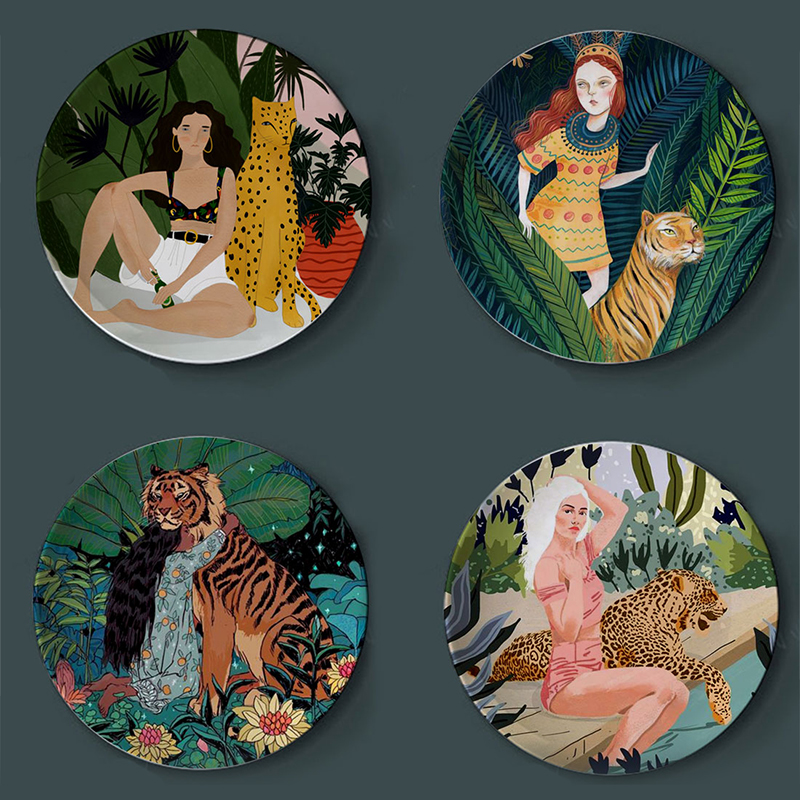 Flora Tiger And Girl Watercolor Plates Creative Home Decorative Illustration Plate Ceramic Decor Craft Leopard Lady Europe Decor