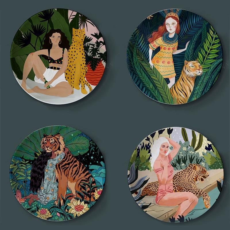 Flora Tiger And Girl Watercolor Plates Creative Home Decorative Illustration Plate Ceramic Decor Craft Leopard Lady Europe Decor
