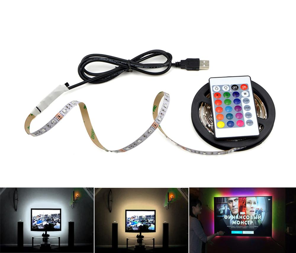 1m 3m 5m IP20 3528 SMD DC 5V USB charger power supply LED strip light RGB remote control USB cable adapter LED lamp Decor light-in LED Strips from Lights & Lighting