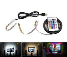 1m 3m 5m IP20 3528 SMD DC 5V cargador USB fuente de alimentación tira de luz LED RGB control remoto adaptador de cable USB LED lámpara Decoración