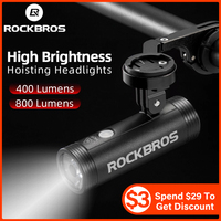 ROCKBROS-luz recargable por USB para bicicleta de montaña, linterna resistente al agua