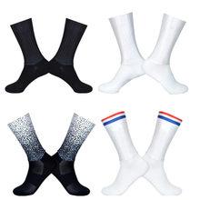 Verão aero meias respirável ciclismo meias homens anti deslizamento sem costura bicicleta wearproof estrada calcetines ciclismo