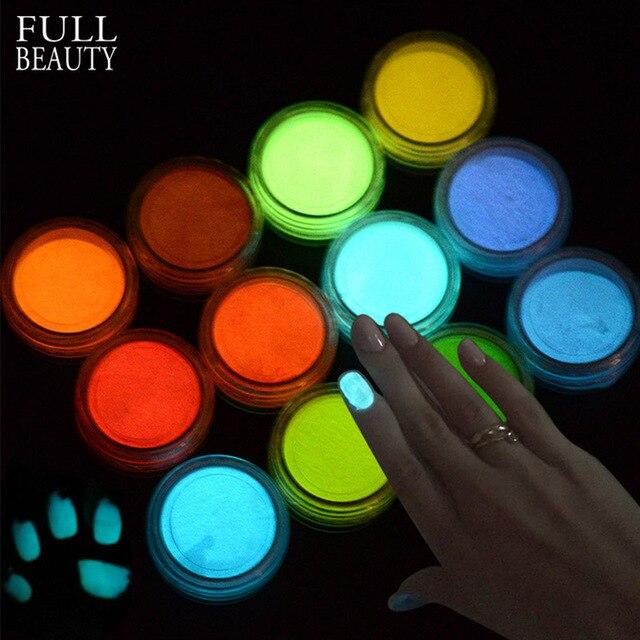 1g Ultrafeinen Fluoreszierende Nagel Pulver Neon Phosphor Bunte Nail art Glitter Pigment 3D Glow Leucht Staub Dekorationen YS01 12 1