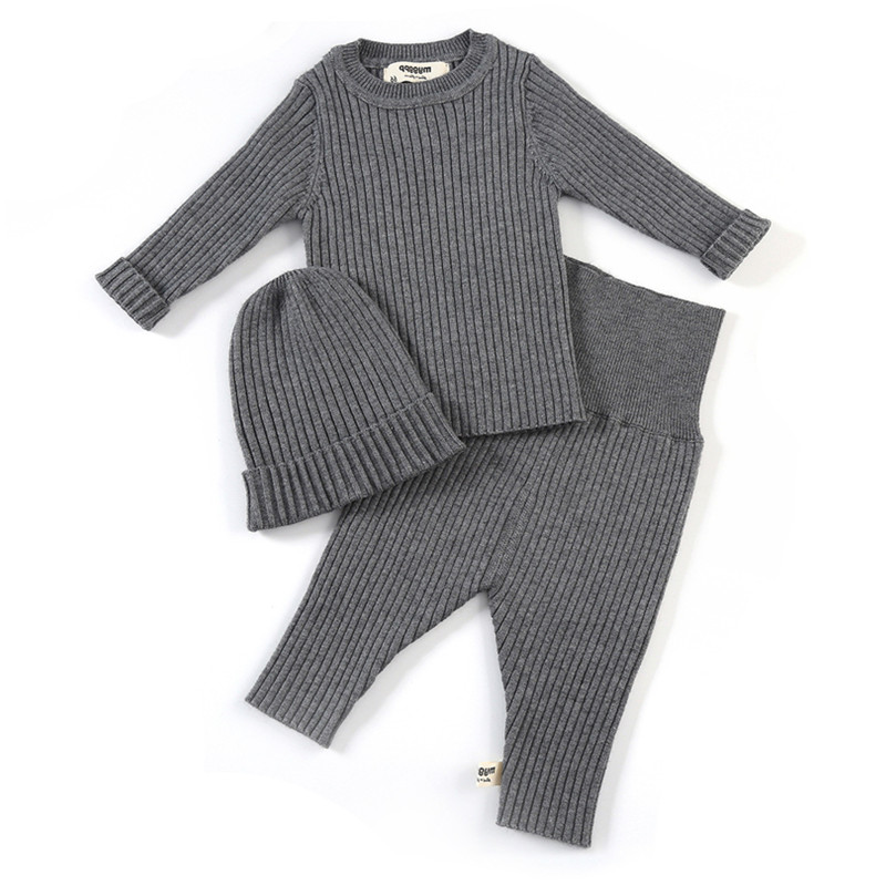 <font><b>Baby</b></font> Toddler Girls Boys Ribbed Knitted Pullover Top With High Waist Pants With Hat 3 Pieces Sets <font><b>Baby</b></font> Cute Set <font><b>Clothing</b></font> 062 image