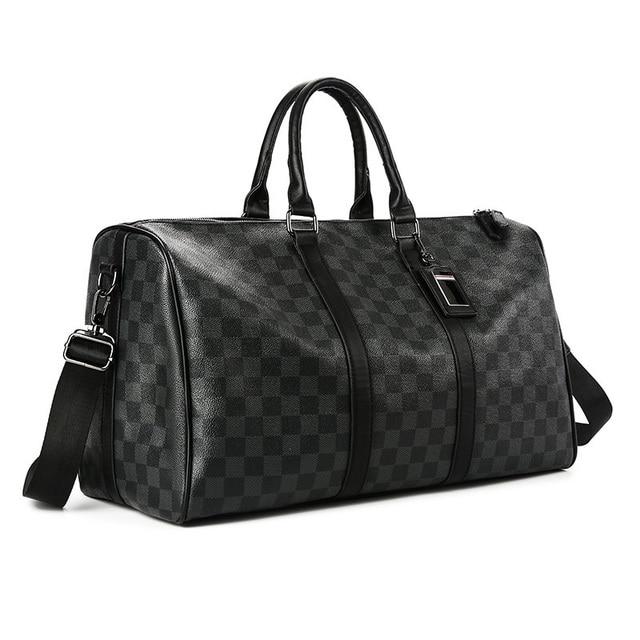 Fashion Travel Bag Men Women Classic PU Leather Luggage Bags Large Capacity Handbags Trip Shoulder Bags Black Plaid Bag Male Hot 2