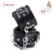 Sex Slave Leather Handcuff for Couple Erotic Games BDSM Bondage Handcuff Ankle Cuff Adult Sex Toy for Women Men Sex Accessories zerosky adult games bdsm bondage padded leather cuffs handcuff collar restraint sex toys for women men adult games