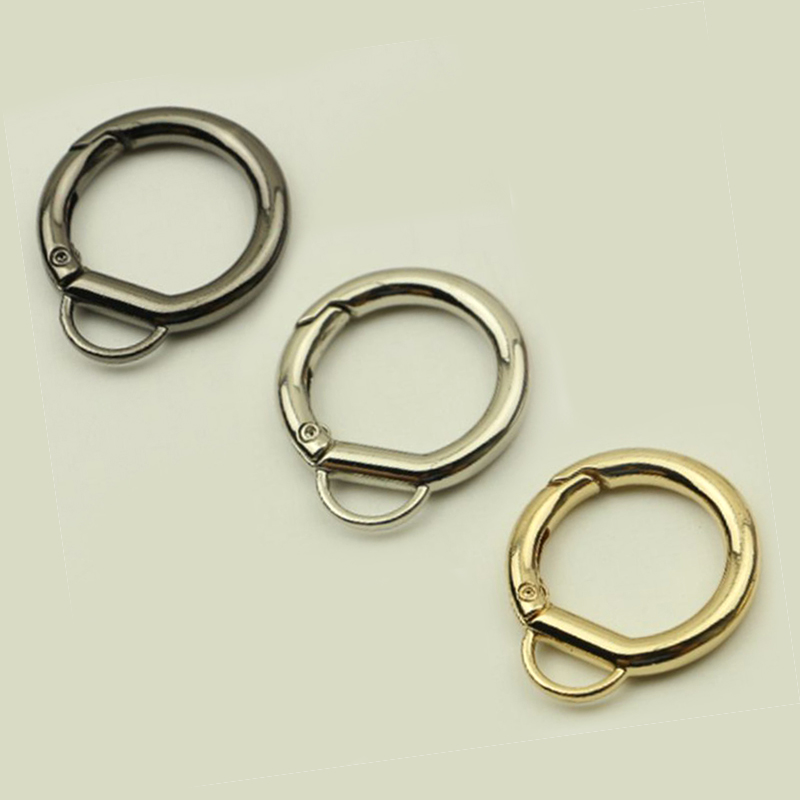 Hot Sale Handbag Button Metal Connector 3 Color Spring Round Shoulder Bag Chain Buckle Clasps For Bags Accessories Decoration