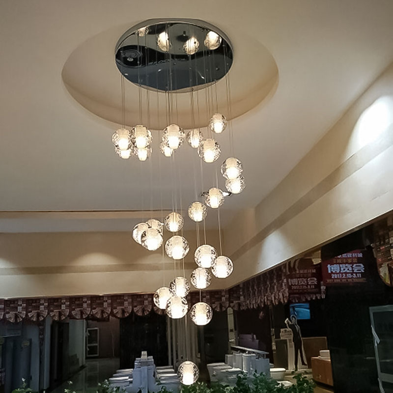 Dia10cm Crystal Chandelier Glass Ball Ceiling Chandelier Lighting Suspended Long Hanging Lamp For Living Room Staircase Hall