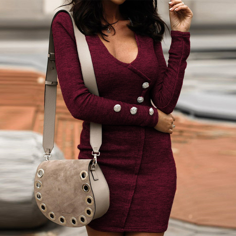 New Fashion Long Sleeve women Autumn winter dress V neck Button Design Bodycon Dress