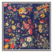 LESIDA écharpe carrée en soie Pure pour femmes, grands châles en Design floral, écharpe carrée, bandana, 130x130CM