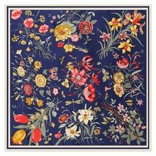 Lesida lenço de seda pura mulheres grandes xales flor design quadrado cachecóis echarpes foulards femme bandanas envoltório 130*130cm
