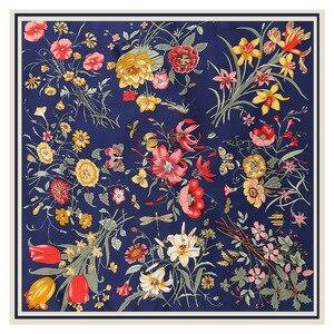Image 1 - Lesida lenço de seda pura mulheres grandes xales flor design quadrado cachecóis echarpes foulards femme bandanas envoltório 130*130cm