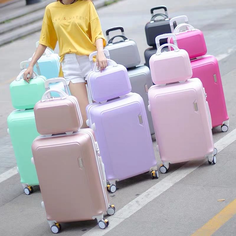 ABS+PC luggage set travel suitcase on wheels Trolley luggage carry on cabin suitcase Women bag Rolling luggage spinner wheel(China)