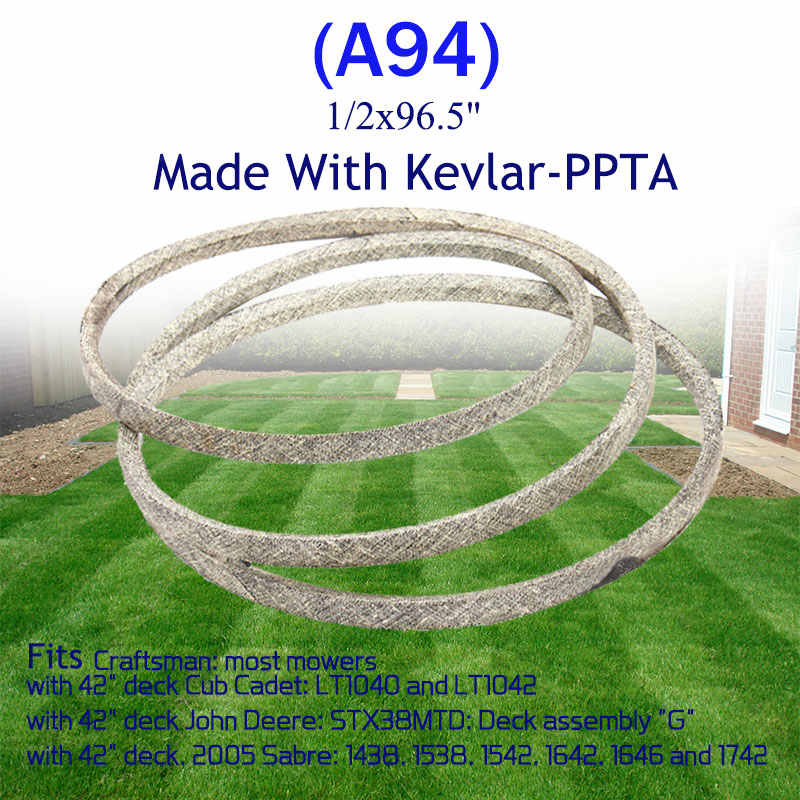 """1//2/""""x96/"""" Made with Kevlar REPLACEMENT BELT FOR MTD 75404060"""