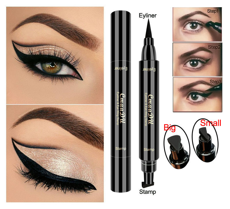 CmaaDu Liquid Eyeliner Pencil Super Waterproof Black Double-Headed Stamps Eye liner Eye maquiagem Cosmetic Makeup Tool image