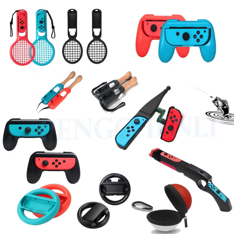 Nintend Switch Game Aksesoris Kit untuk Nintendo Switch Joy-Con Game Controller Handle Grip Gamepad Joystick Dudukan Set