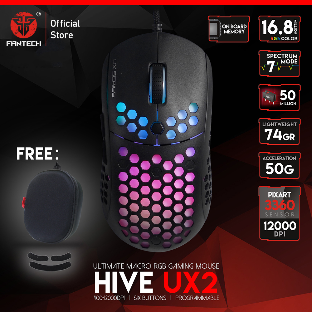 FANTECH UX2 Gaming Mouse Lightweight Honeycomb Shell 74G And PIXART 3360 500 To 12000 DPI RGB Marco Mouse For PC Gaming Gamer