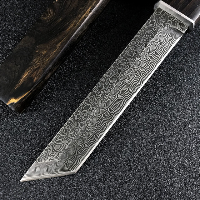 Japanese Samurai VG10 Damascus Steel Straight Knife with Sheath Wooden Handle Tactical Hunting Knife Outdoor Self Defense Weapon 4