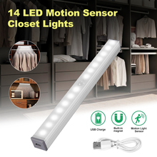 1/2Pcs 14 LED Motion Sensor Closet Lights Under Cabinet USB Rechargeable Portable with Magnetic Strip for