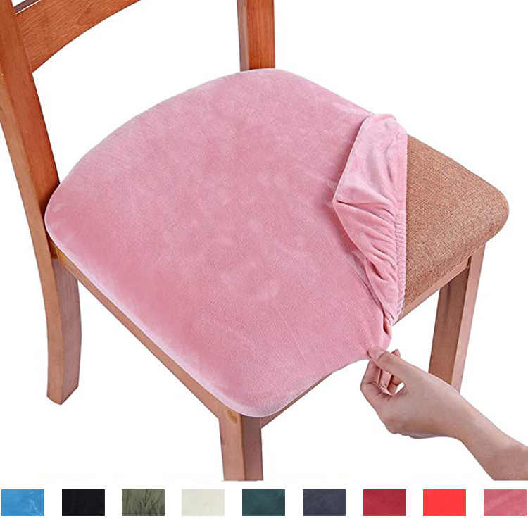 6 Pack, Chocolate TIANSHU Spandex Jacquard Chair Seat Covers,Removable Washable Elastic Cushion Covers For Dining Chair
