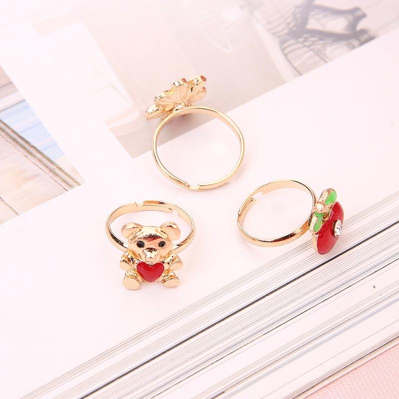 10pcs Cute Cartoon Kids Rings Kawaii Korean Children Girls Flower Alloy Finger Ring Child Jewelry Gift Adjustable Rings