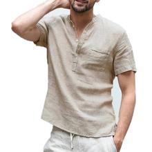 Męskie lniane koszule z krótkim rękawem oddychające męskie workowate koszule na co dzień Slim fit trwała bawełna koszule męskie pulowerowe topy bluzka tanie tanio Luźne Polo NONE Stałe Bawełna mieszanki Szybkie suche