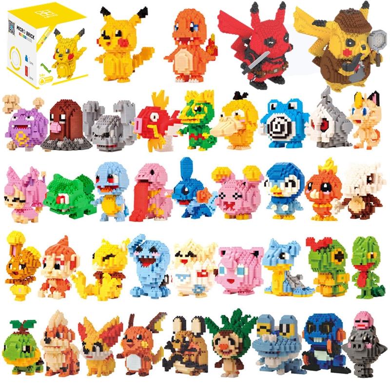 34 styles Pokemon Blocks Small Cartoon Cartoon Picachu Animal Model Education Game Graphics Bricks Pokemon Toys