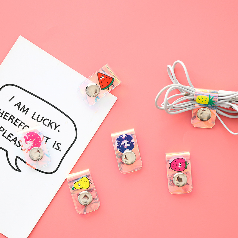 Laser Creative Unicorn Snap Closure Cable Winder Earphones Data Cable Storage Organizing Box Cord Manager Small Gifts