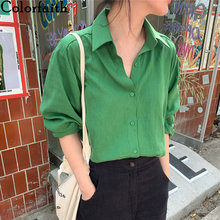 Colorfaith Новинка 2021 женские блузки на лето и осень пуговицы